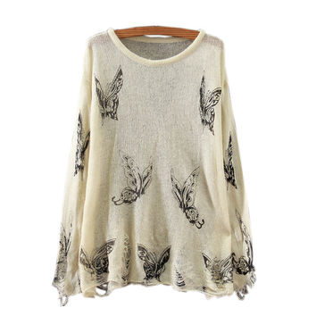 HOT THIN BUTTERFLY HOLE SWEATER