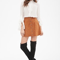 Buttoned Suede Skirt