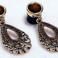 "9/16"" brown and gold pretty dangle plugs"