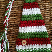 Crochet Christmas Baby Elf Hat, Red White and Green Striped Photo Prop Beanie, Unisex Baby Shower Gift, Long Braid and Tassel Baby Hat