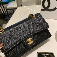 151 Fashion Classic Chain Crossbody Pouch Flap Bag Crocodile Pattern Baguette Bag 25-16cm