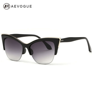 AEVOGUE Half-Frame Cat Eye Sunglasses Women Summer Style Sun Glasses Brand Designer Gafas Oculos De Sol UV400 AE0266