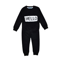2pcs New Newborn Toddler Kids Baby Boys Girls Letter Clothes Outfits T-shirt Tops+Pants Set