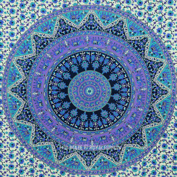 Small Blue Indian Psychedelic Hippie Boho Mandala Throw Tapestry Wall Hanging on RoyalFurnish.com