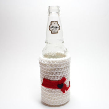 Massachusetts Beer Koozie, State Accessories, Crochet Can Koozie, Boston Red Sox Inspired Bottle Cozy, Coffee Cozy, Travel Drink Holder