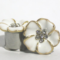 """Beautiful White And Gold Crystal Flower Plugs 0G 00G 7/16"""" 1/2"""" 9/16"""" 5/8""""  00 Gauge 10mm 11mm 13mm 14mm 16mm"""