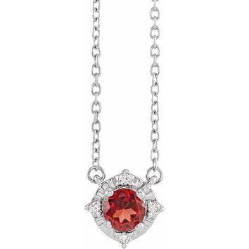 "Sterling Silver Mozambique Garnet & .04 CTW Diamond Halo-Style 18"" Necklace"