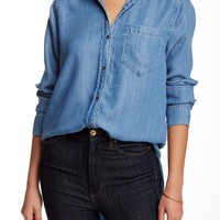 Long Sleeve Button Down Chambray Blouse