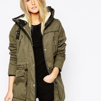 Vero Moda Parka Jacket With Quilted Sleeves
