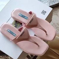 PRADA new ladies sexy solid color flat sandals slippers flip flops Shoes Pink
