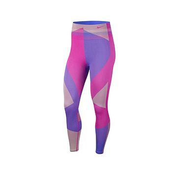 Nike Women's Sculpt Icon Clash 7/8 Seamless Training Tights Pink Blue