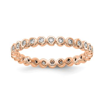 Natural 1/3 Ct. Bezel Set Diamond Eternity Band in 14k Rose Gold