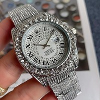 Rolex new men's and women's diamond-studded solid color watch fashion luxury steel band watches