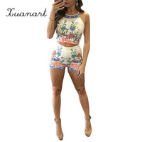 2016 sexy boho short jumpsuits new fashion spaghetti strap backless beach two pieces outfits floral print femme summer rompers