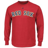 Majestic Boston Red Sox Gold Wordmark Long Sleeve T-Shirt - Red