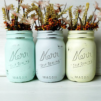 Painted and Distressed Shabby Chic Mason Jars - Vases - Icy Hues