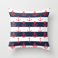 Red White and Blue Anchor Pattern Throw Pillow by Pati Designs
