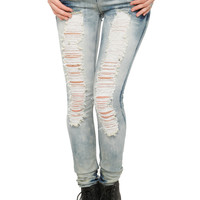 Destroyed Cloud Skinny Jeans | Hot Topic