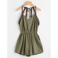 No Surprises Embroidered Open Back Romper - Army Green