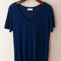 Perfectly Imperfect One-Pocket Shabby Tee, Navy #2