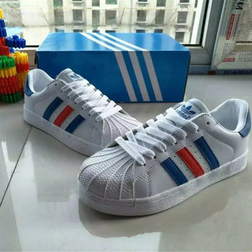 """""""Adidas"""" All-match Fashion Couple  Casual Gold Standard Three Bars Shell Head Plate Shoes  Sneakers Shoes Small White Shoes"""