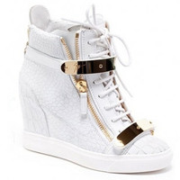 Indie Designs Giuseppe Zanotti Inspired Gold Trim High Top Lace Up Closure Wedge Sneakers