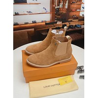 LV Louis Vuitton Men's Fashion High Top Leather Boots Shoes