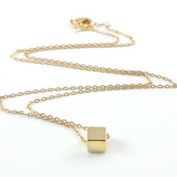 dainty necklace gold cube – Etsy UK