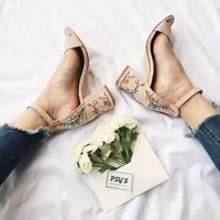 Women Floral Thick Heels