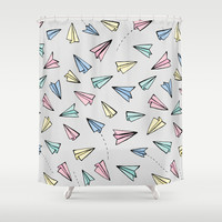Paper Planes in Pastel Shower Curtain by Tangerine-Tane
