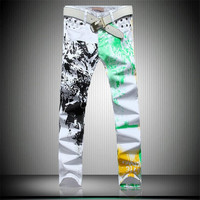 White Denim Graffiti Splash Jeans