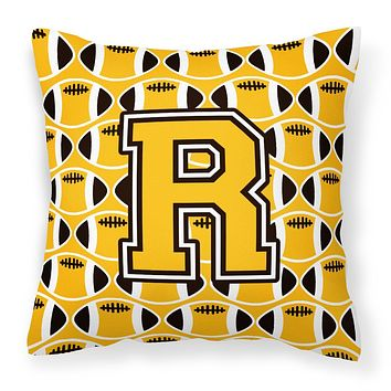 Letter R Football Black, Old Gold and White Fabric Decorative Pillow CJ1080-RPW1414