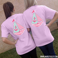 Marley Lilly Lavender Sailboat Short Sleeve T-Shirt | Preppy | Marley Lilly