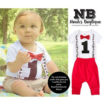 Mickey Mouse First Birthday Party Outfit Boy With Red Pants