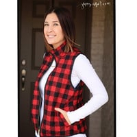Buffalo Plaid Puffer Vest In Stock!