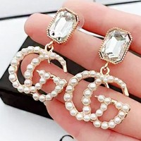 GUCCI New fashion diamond more pearl long earring women