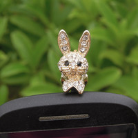 1PC Bling Crystal Rabbit Cell Phone Earphone Jack Antidust Plug Charm for iPhone 4,4s,4g,5,5s,Samsung S3,S4, Nokia HTC  Smart Phone Charm