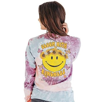 Simply Southern Bloom With Kindness Tie Dye Long Sleeve T-Shirt