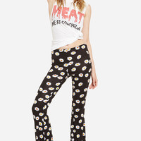 Black Daisy Print Flare Leggings