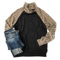 Cheetah Pullover with Side Half Zip