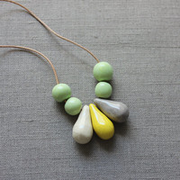 Handmade ceramic beads - mint green, gray and yellow strand necklace - beadwork on thin leather cord