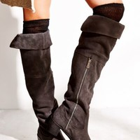 Report Justeen Suede Tall Boot- Charcoal