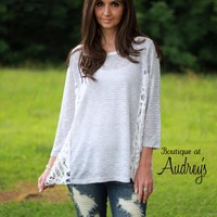 BLACK FRIDAY SPECIAL Umgee Charcoal Stripe Top with Crochet Side Accents