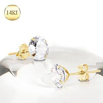 Pair of 14Kt Yellow Gold Clear Round CZ Stud Earrings
