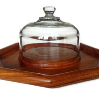 Teak Covered Cheese Tray, Glass Cloche, Goodwood Mid Century Serving Tray