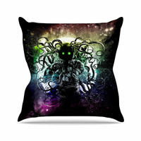 "Frederic Levy-Hadida ""Terror From Deep Space"" Teal Purple Throw Pillow"
