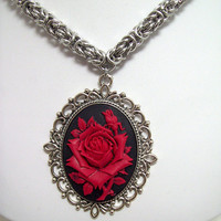 Chainmaille, necklace, cameo, jewelry, red rose, vampire, gothic, elegant, renaissance, medieval