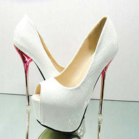 Sexy Super High Heels Party Queen Platform With Glitter Crystal Women Shoes