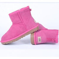 "shosouvenir""UGG"" Women male Fashion Wool Snow Boots Yellow"