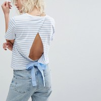 Miss Selfridge Tie Back T-Shirt at asos.com